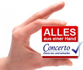 Hand mit Concerto Würfel