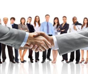 Business Menschen und zwei Hände