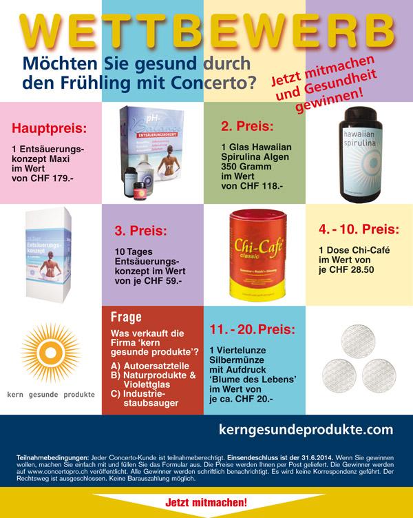 Wettbewerb kerngesundeprodukte.ch Juni 2014