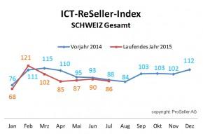 ICT ReSeller Index Juli 2015 / Vorjahresvergleich
