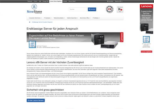 Lenovo Server - CMS-Seite und Menupunkt in Top-Navigation