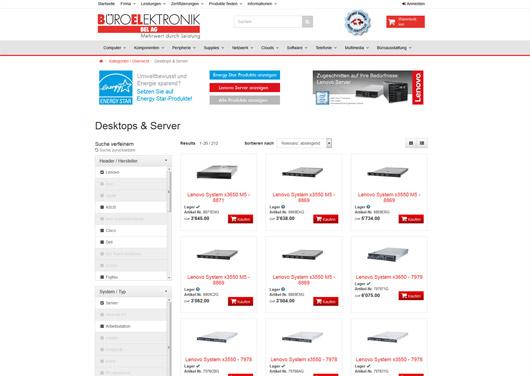 Lenovo Server - Produktseite in Reseller-Webshop mit Filtern