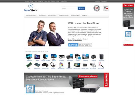 Lenovo Server - Startseite mit Bannern