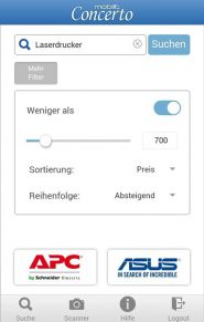 3 Concerto Mobile App Suche